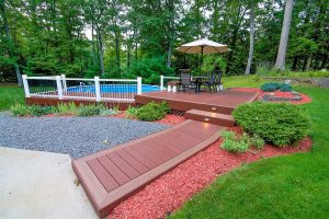 Side view of a new deck installation in Hampstead NH
