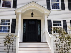 Decorative front door installation on a home in Derry NH