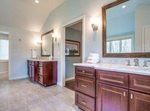 His & Her vanities installed in a renovated master bathroom