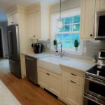 View of new farmers sink installation in a kitchen remodel in Hampstead NH