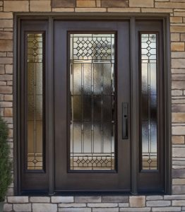 Decorative glass door installation on a home in Hampstead NH