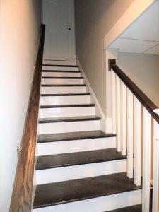 Beautifully finished stairs in basement addition
