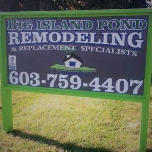 Big Island Pond Remodeling Sign